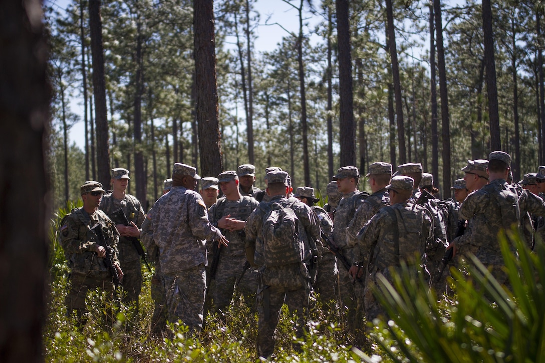 U.S. Army Reserve Soldiers, representing 32 states, receive a briefing on land navigation during this year's 200th Military Police Command's Best Warrior Competition held at Camp Blanding, Fla., Feb. 9. The winning noncommissioned officer and junior enlisted Soldiers will move on the U.S. Army Reserve Command competition in May. (U.S. Army Photo by Sgt. Audrey Ann Hayes)