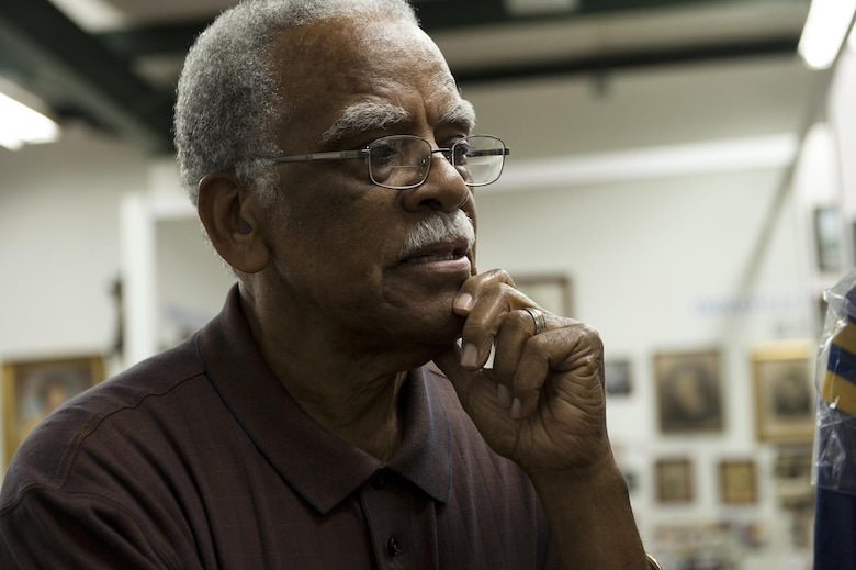 "Retired Chief Master Sgt. James ""Jack"" Hadley, Black History Museum curator, reminisces on his childhood, Feb. 8, 2016, in Thomasville, Ga. Hadley grew up at Pebble Hill, a former Thomasville cotton plantation, before enlisting in the Air Force and serving his country for 28 years. (U.S. Air Force photo/Airman 1st Class Kathleen D. Bryant)"
