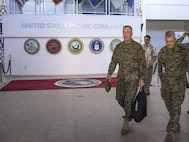 Marine Gen. Joseph F. Dunford Jr., chairman of the Joint Chiefs of Staff, departs the U.S. Pacific Command Headquarters on Camp H.M. Smith, Hawaii, Feb. 9, 2016. DoD Photo by Navy Petty Officer 2nd Class Dominique A. Pineiro