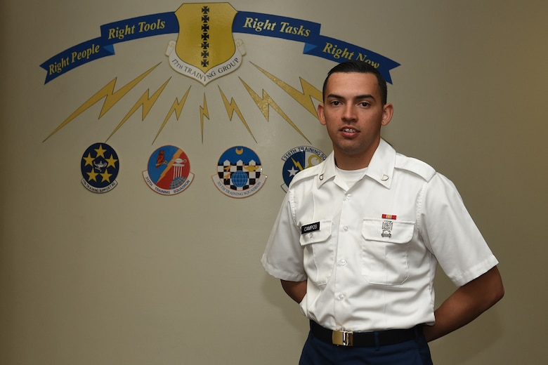 U.S. Army Pfc. David C. Campos, 312th Training Squadron student, stands next to a sign representing the 17th Training Group in Brandenburg Hall on Goodfellow Air Force Base, Texas, Feb. 5, 2016. Campos is the Goodfellow Student of the Month Spotlight for January, a series highlighting Team Goodfellow students. (U.S. Air Force photo by Staff Sgt. Laura R. McFarlane/Released)