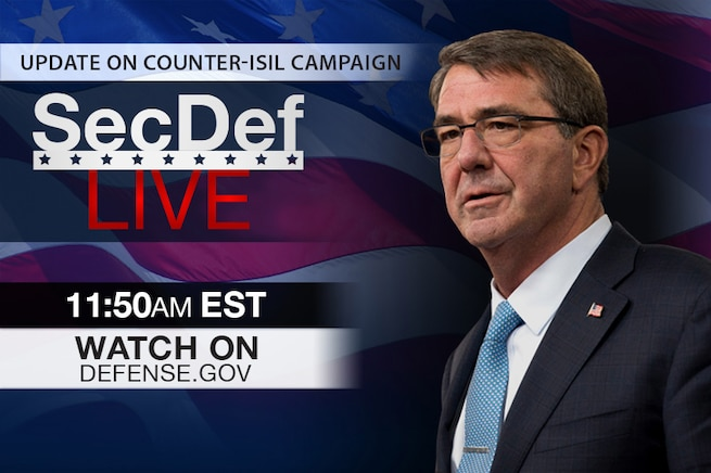 Defense Secretary Ash Carter is scheduled to host a meeting in Brussels of coalition defense ministers countering the Islamic State of Iraq and the Levant to discuss the military campaign plan. Watch it live here.
