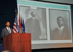 John W. Franklin of the National Museum of African American History and Culture delivers his presentation at the DLA McNamara Headquarters Complex for African American History Month. Photo by Teodora Mocanu.