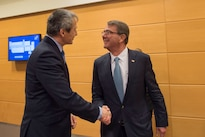 Defense Secretary Ash Carter greets Czech Defense Minister Martin Stropnicky before meeting to discuss matters of mutual importance at NATO headquarters in Brussels, Feb. 10, 2016. DoD photo by Air Force Senior Master Sgt. Adrian Cadiz