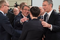 Defense Secretary Ash Carter exchanges greetings with Norwegian Defense Minister Ine Eriksen Soreide at NATO headquarters in Brussels, Feb. 10, 2016. DoD photo by Air Force Senior Master Sgt. Adrian Cadiz