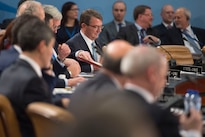 Defense Secretary Ash Carter attends a NATO defense ministers meeting at the alliance's headquarters in Brussels, Feb. 10, 2016. DoD photo by Air Force Senior Master Sgt. Adrian Cadiz
