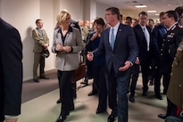 Defense Secretary Ash Carter speaks with Italian Defense Minister Roberta Pinotti between meetings at NATO headquarters in Brussels, Feb. 10, 2016. DoD photo by Air Force Senior Master Sgt. Adrian Cadiz