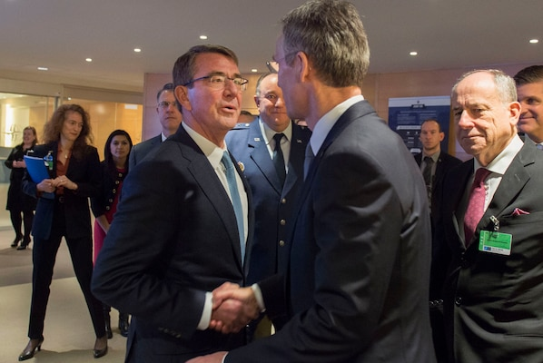 Defense Secretary Ash Carter, left, greets NATO Secretary General Jens Stoltenberg as they meet at NATO headquarters in Brussels, Feb. 10, 2016, to discuss matters of mutual importance. DoD photo by Air Force Senior Master Sgt. Adrian Cadiz