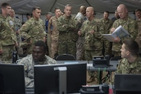 Marine Corps Gen. Joseph F. Dunford Jr., chairman of the Joint Chiefs of Staff, tours an exercise site on Schofield Barracks, Hawaii, Feb. 9, 2016. DoD Photo by Navy Petty Officer 2nd Class Dominique A. Pineiro