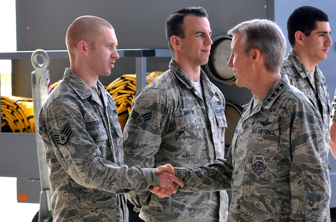 Gen. Hawk Carlisle, commander of Air Combat Command, greets Airmen from the 9th Maintenance Squadron Feb. 9, 2016, during his visit to Beale Air Force Base, Calif. Carlisle visited Beale to receive a first-hand perspective of high-altitude intelligence, surveillance and reconnaissance missions.  (U.S. Air Force photo by Staff Sgt. Jeffrey Schultze)