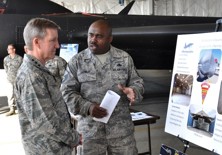 Gen. Hawk Carlisle, commander of Air Combat Command, is briefed on the U-2 Dragon Lady aircraft by Master. Sgt. Bandele Howes, 9th Maintenance Squadron assistant fabrication flight chief Feb. 9, 2016, during his visit to Beale Air Force Base, Calif. Carlisle toured many facilities and visited with Airmen of the 9th Reconnaissance Wing with a focus on the intelligence, surveillance and reconnaissance enterprise. (U.S. Air Force photo by Staff Sgt. Jeffrey Schultze)