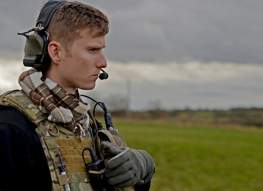 Staff Sgt. Joseph Bland, 56th Rescue Squadron special missions aviator, participates in a combat search and rescue task force training exercise near Hinderclay, England, Feb. 4, 2016. The 56th and 57th Rescue Squadrons coordinated with the 493rd and 494th Fighter Squadrons and the 100th Air Refueling Wing to take part in a recovery scenario. (U.S. Air Force photo/Senior Airman Erin Trower)