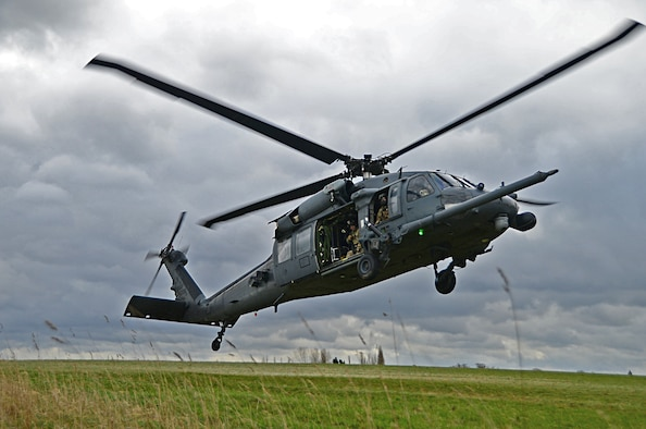 An HH-60G Pave Hawk assigned to the 56th Rescue Squadron prepares to land during a combat search and rescue task force training exercise near Hinderclay, England, Feb. 4, 2016. The training focused on rescue techniques and involved various squadrons and personnel assigned to the 48th Fighter Wing and 100th Air Refueling Wing. (U.S Air Force photo/Senior Airman Erin Trower)