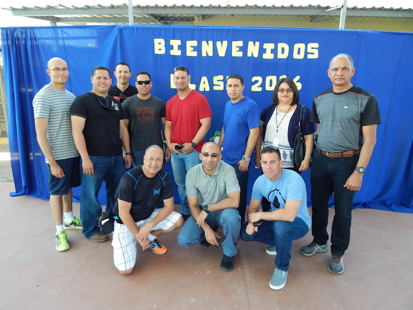 """Comayagua, Honduras – Service members from Joint Task Force-Bravo Joint Security Forces, pose for a photo during a volunteer activity involving the donation of school supplies for the children of the CasAyuda Foundation"""", Comayagua, Honduras, Feb. 02, 2016.  The volunteers gathered the funds within their unit to purchase backpacks, notebooks, pencils and other materials to donate to the children and help them back to school. (U.S. Army photo by Spc. Audie Colón)"""