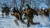 U.S. Marines and Japan Ground Self-Defense Force Soldiers sprint forward to capture the flag during a snowball fight championship for Forest Light 16-2 in Yausubetsu Training Area, Hokkaido, Japan, Jan. 31, 2016. Forest Light, a semi-annual exercise between the JGSDF and III Marine Expeditionary Force, strengthens military partnership, solidifies regional security agreements and improves individual and unit-level skills. The JGSDF soldiers are with the 27th Infantry Regiment, 5th Brigade, Northern Army. The Marines are with 3rd Battalion, 5th Marine Regiment currently assigned to 4th Marine Regiment, 3rd Marine Division, III MEF through the unit deployment program.