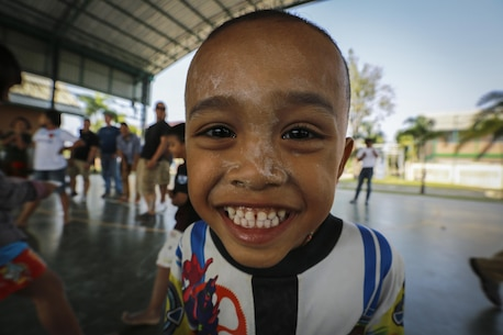 U.S. Marines and sailors with the 31st Marine Expeditionary Unit, participate in a community relationship event at the Child Development and Protection Center, in Chonburi, Thailand, during exercise Cobra Gold, Feb. 6, 2016. Cobra Gold 2016, in its 35th iteration includes a specific focus on Humanitarian Civic Action, community engagement, and medical activities conducted during the exercise to support the needs and humanitarian interests of civilian populations around the region.