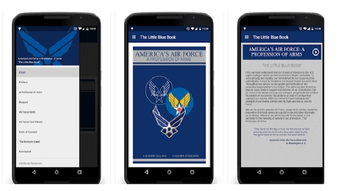 "82nd Training Wing's 782nd Training Group at Sheppard AFB, Texas developed a series of mobile applications for the ""Little Blue Book,"" giving Airmen ready access to Air Force standards, culture and basic doctrine. (Courtesy Graphic)"