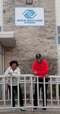 Senior Airman Ashley Adams and Senior Airman Nathan Dillard, members of the National Air and Space Intelligence Center, arrive at the Dayton, Ohio Boys and Girls Clubs of America Monday, Feb. 8, 2016 as part of the Justice Mentoring Program. The group sends five to eight members to volunteer every other Friday where they help area under-privileged children through mentoring and mediation. (U.S. Air Force photo by Senior Airman Samuel Earick)