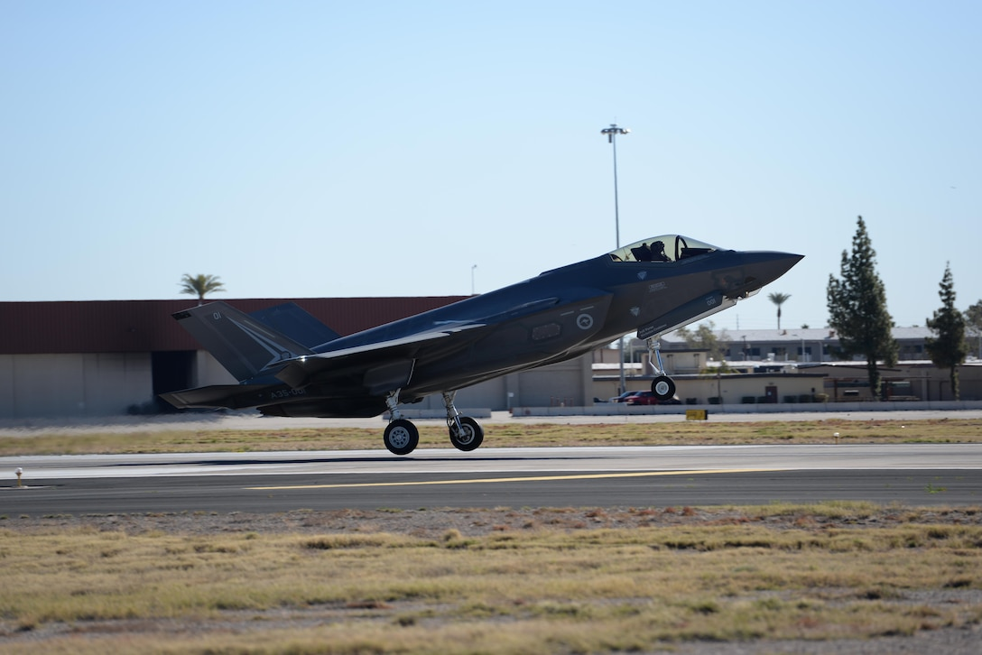 An Australian F-35 Lightning II lands at Luke Air Force Base Feb. 2, 2016. Luke conducts a joint international F-35 training mission with partner nations Norway, Italy, and Australia. The F-35 is a fifth-generation all-weather multi-role strike fighter.