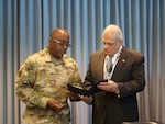 Army Brig. Gen. Richard Dix honors Joseph Spielbauer during a ceremony at DLA Distribution Jan. 28.