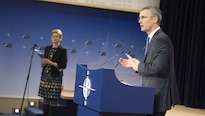 NATO Secretary General Jens Stoltenberg speaks to the media at NATO headquarters in Brussels, Feb. 11, 2016, following the meeting of NATO defense ministers. NATO photo