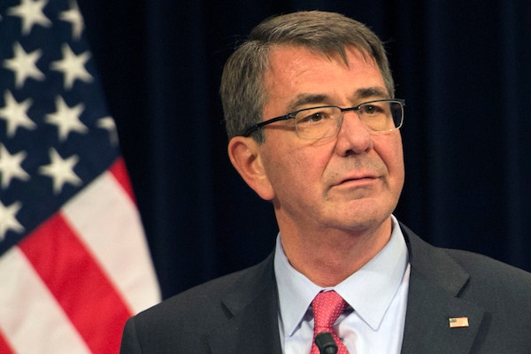 Defense Secretary Ash Carter speaks with reporters at NATO headquarters in Brussels, Feb. 11, 2016. DoD photo by Air Force Senior Master Sgt. Adrian Cadiz