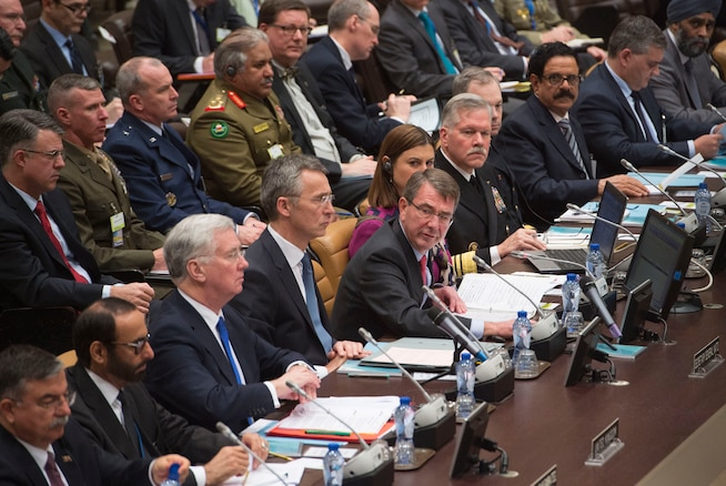 Defense Secretary Ash Carter addresses efforts to accelerate the counter-ISIL operation in Iraq and Syria during a meeting he hosted in Brussels, Feb. 11, 2016. During his trip, Carter also attended a NATO defense ministers meeting. DoD photo by Air Force Senior Master Sgt. Adrian Cadiz