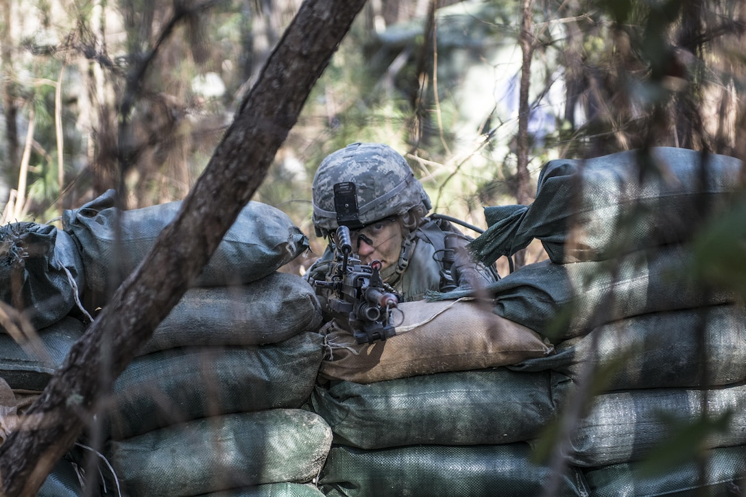 Army Reserve Soldier Pvt. Melissa Stamey, C Company, 1st Battalion, 61st Infantry Regiment, mans the M249 light machine gun after rebuilding her firing position when the wall of sandbags collapsed around her during the Victory Forge field training exercise at Fort Jackson, S.C., Feb. 10, 2016. Victory Forge is the culminating event just before graduation for Soldiers at Fort Jackson in Basic Combat Training. Stamey will head to Fort Lee, Va. after basic where she will attend Advanced Individual Training as a Supply Specialist. (U.S. Army photo by Sgt. 1st Class Brian Hamilton)