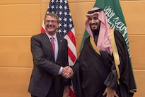 Defense Secretary Ash Carter, left, poses for a photo with Saudi Defense Minister Mohammad bin Salman at NATO headquarters in Brussels, Feb. 11, 2016. DoD photo by Air Force Senior Master Sgt. Adrian Cadiz