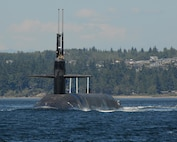 USS Maine prepares to transit the Hood Canal as it sails back to its homeport of Naval Base Kitsap - Bangor in Bangor, Wash., June 17, 2015. Maine is one of eight ballistic missile submarines stationed at the base providing the survivable leg of the strategic deterrence triad for the United States. Navy photo by Petty Officer 1st Class Kenneth G. Takada
