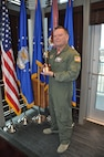 "Brig. Gen. Samuel ""Bo"" Mahaney, Air Reserve Personnel Center commander, stands with his award Feb. 11 at ARPC on Buckley Air Force Base, Colo. Mahaney received the Public Affairs Champion award during the 2016 Air Force Reserve Command Leadership Symposium Feb. 9 at Marietta, Ga. The award recognizes commanders who are highly supportive and involved in the public affairs career field. (U.S. Air Force photo/Tech. Sgt. Rob Hazelett)"