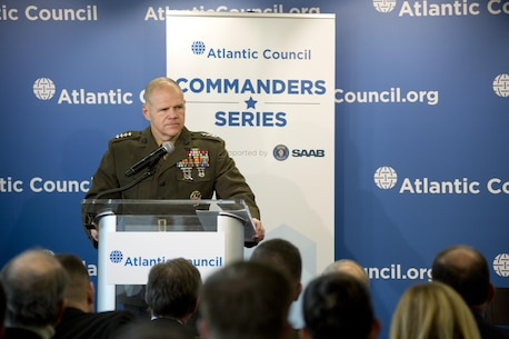 Commandant of the Marine Corps Gen. Robert B. Neller speaks at the Atlantic Council, Washington, D.C., Feb. 11, 2016. Neller discussed the current state, future, and priorities of the Marine Corps. (U.S. Marine Corps photo by Staff Sgt. Gabriela Garcia/Released)