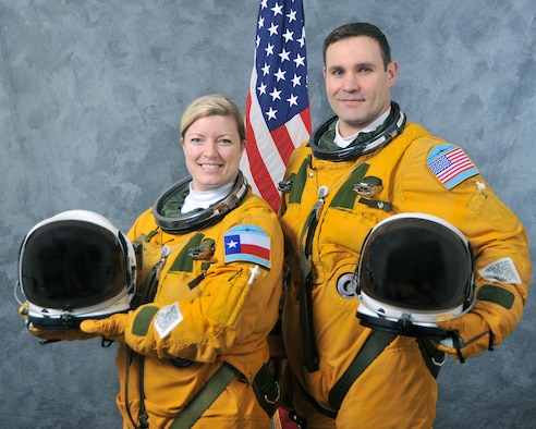 Maj. Sarah and Maj. John, 99th Reconnaissance Squadron U-2 pilots. (U.S. Air Force photo by Robert Scott)
