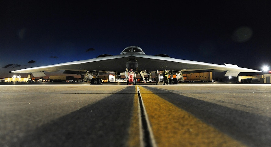 A U.S. Air Force B-2 Spirit aircraft sits on the flightline prior to takeoff at Whiteman Air Force Base, Mo., for Red Flag (RF) 16-1 Feb. 2, 2016. Established in 1975, RF includes command, control, intelligence and electronic warfare exercises to better prepare forces for combat. (U.S. Air Force photo by Airman 1st Class Michaela R. Slanchik)