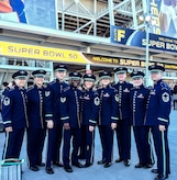 Members of The United States Air Force Band Singing Sergeants pose for a photo outside Levi's Stadium in Santa Clara, Calif. Feb. 7, 2016, following their performance with the Joint Armed Forces Chorus for the opening ceremonies of Super Bowl 50. (Courtesy Photo) - at Levy's Stadium, Santa Clara California.