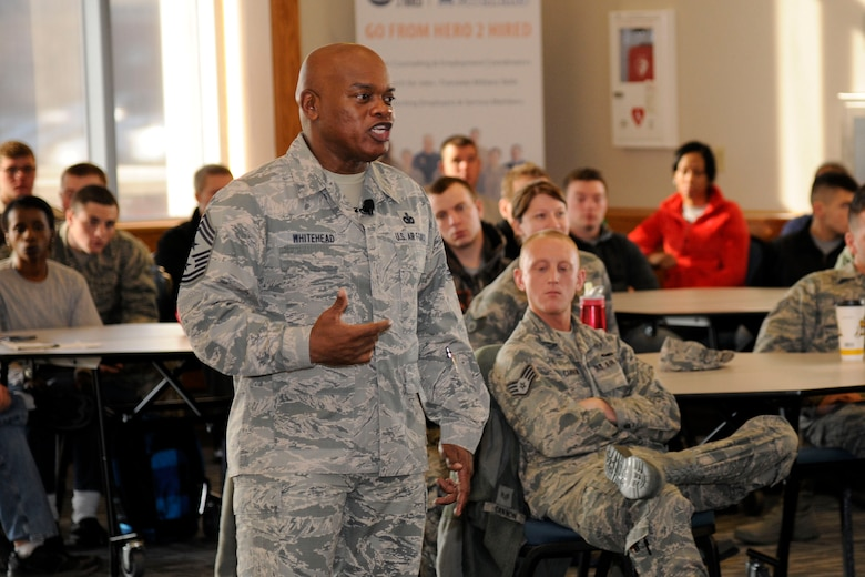 Chief Master Sgt. Tony Whitehead, command chief master sergeant of the 127th Wing, addresses Airmen of the Wing during an enlisted call at Selfridge Air National Guard Base, Feb. 6, 2016. Whitehead was named the wing's command chief the previous November. (U.S. Air National Guard photo by Senior Airman Ryan Zeski).