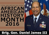 Lt. Gen. Daniel James III became the first African-American Director of the Air National Guard in 2002, after a career spanning nearly four decades. The 137th Air Refueling Wing is highlighting the African-American Airmen who have helped to advance the U.S. Air Force, the Air National Guard and the 137th Air Refueling Wing in a four-part series as part of African American History Month. (U.S. Air National Guard illustration by Master Sgt. Andrew LaMoreaux)