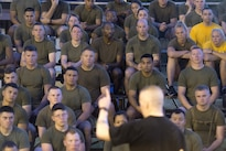 Army Command Sgt. Maj. John W. Troxell, foreground, senior enlisted advisor to the chairman of the Joint Chiefs of Staff, speaks with sailors and Marines after participating in a morning physical training session at Camp H.M. Smith, Hawaii, Feb. 10, 2016. DoD photo by Navy Petty Officer 2nd Class Dominique A. Pineiro
