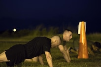 Army Command Sgt. Maj. John W. Troxell, foreground, senior enlisted advisor to the chairman of the Joint Chiefs of Staff, does pushups during a morning physical training session with sailors and Marines at Camp H.M. Smith, Hawaii, Feb. 10, 2016. Marine Corps photo by Sgt. Erik Estrada