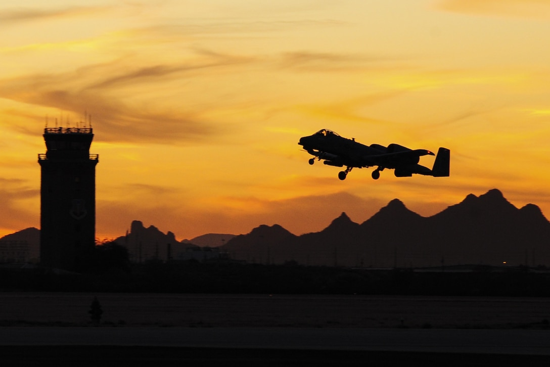 An A-10 Thunderbolt II takes off from Davis-Monthan Air Force Base, Ariz., Jan. 28, 2016. The A-10 has excellent maneuverability at low air speeds and altitude, and is a highly accurate and survivable weapons delivery platform. (U.S. Air Force photo/Senior Airman Chris Drzazgowski)