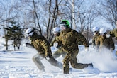 U.S. Marines and Japan Ground Self-Defense Force Soldiers sprint forward to capture the flag during a snowball fight championship for Forest Light 16-2 in Yausubetsu Training Area, Hokkaido, Japan, Jan. 31, 2016. Forest Light, a semi-annual exercise between the JGSDF and III Marine Expeditionary Force, strengthens military partnership, solidifies regional security agreements and improves individual and unit-level skills. The JGSDF soldiers are with the 27th Infantry Regiment, 5th Brigade, Northern Army. The Marines are with 3rd Battalion, 5th Marine Regiment currently assigned to 4th Marine Regiment, 3rd Marine Division, III MEF through the unit deployment program. (U.S. Marine Corps Photo by Cpl. Tyler S. Giguere/Released)