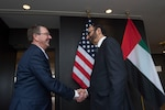 Defense Secretary Ash Carter greets United Arab Emirates Minister of State for Defense Affairs Mohammed Al Bowardi  as he arrives in Brussels to discuss matters of mutual importance, Feb. 12, 2016. Secretary Carter was in Brussels to attend a NATO defense ministers meeting and to meet with defense ministers of countries who are major contributors to the coalition fighting the Islamic State of Iraq and the Levant. DoD photo by Air Force Senior Master Sgt. Adrian Cadiz