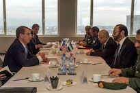 Defense Secretary Ash Carter, left foreground, meets with United Arab Emirates Minister of State for Defense Affairs Mohammed Al Bowardi in Brussels to discuss matters of mutual importance, Feb. 12, 2016. DoD photo by Air Force Senior Master Sgt. Adrian Cadiz