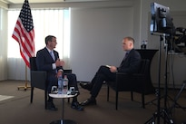 Defense Secretary Ash Carter speaks with Jonathan Beale of the British Broadcasting Corporation during an interview in Brussels, Feb. 12, 2016. Secretary Carter was in Brussels to attend a NATO defense ministers meeting and to meet with defense ministers of countries who are major contributors to the coalition fighting the Islamic State of Iraq and the Levant. DoD photo by Air Force Senior Master Sgt. Adrian Cadiz