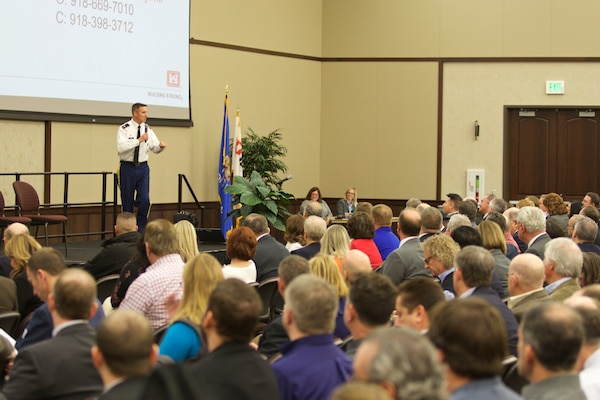 Col. Richard A. Pratt, Tulsa District U.S. Army Corps of Engineers Commander, speaks to attendees during Meet the Corps Day, February 10. More than 300 representatives from more than 200 businesses attended the event at Tulsa Technical College's Owasso, Oklahoma campus.