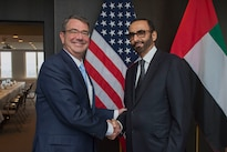 Defense Secretary Ash Carter greets United Arab Emirates Minister of State for Defense Affairs Mohammed Al Bowardi  as he arrives in Brussels to discuss matters of mutual importance, Feb. 12, 2016. DoD photo by U.S. Air Force Senior Master Sgt. Adrian Cadiz