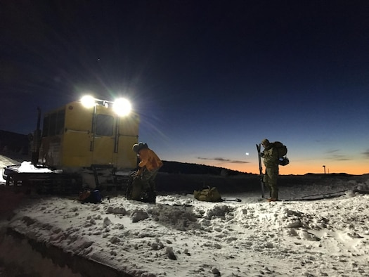 The 304th Rescue Squadron pararescue team from Portland, Ore., inserted onto Mount Hood via a Snowcat at 8,000-foot to begin the search and rescue effort to locate a lost skier at sunrise on Feb. 2, 2016. With the help of local SAR organization they found the skier at 11 a.m. (U.S. Air Force photo/Maj. Chris Bernard)