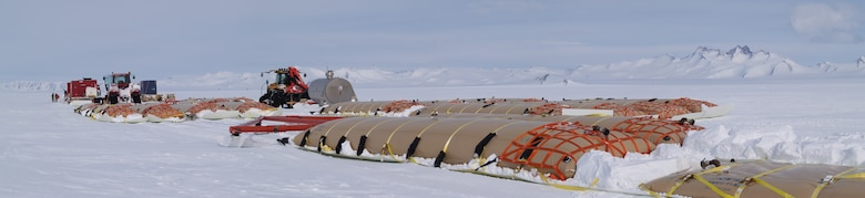 Here, ERDC-CRREL designed bladder-sled trains are en route to resupply South Pole Station, Antarctica, in 2008.