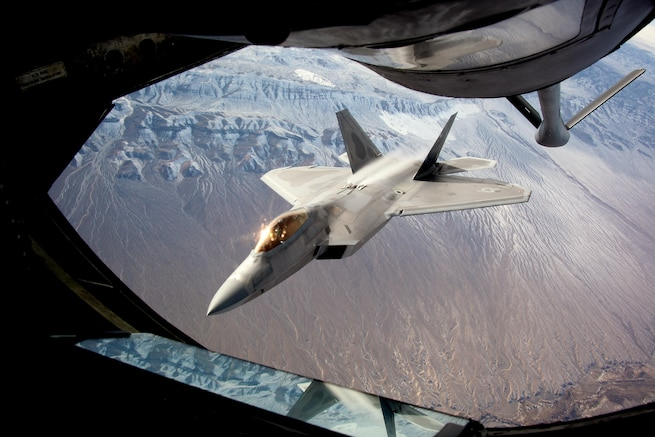An F-22 Raptor disconnects from the boom of a KC-135 Stratotanker after refueling during exercise Red Flag 16-1 over Nellis Air Force Base, Nev., Feb. 4, 2016. The exercise gives aircrews an opportunity to train in advanced, realistic combat situations. Air Force photo by Master Sgt. Burt Traynor