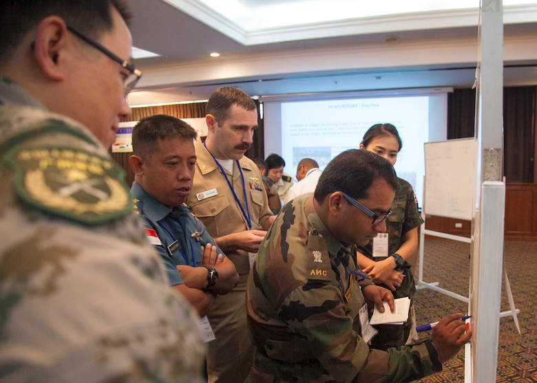 Participants of the Exercise Cobra Gold 16 Medical Symposium work through a humanitarian assistance disaster response scenario Feb. 11 at the K.P. Grand Hotel, Chanthaburi, Thailand. The symposium, Feb. 9-12, focused on the exchange of knowledge and techniques about HADR. As part of the overall focus of CG16, the symposium and other programs will improve the quality of life, as well as the general health and welfare of civilian residents in the exercise areas.