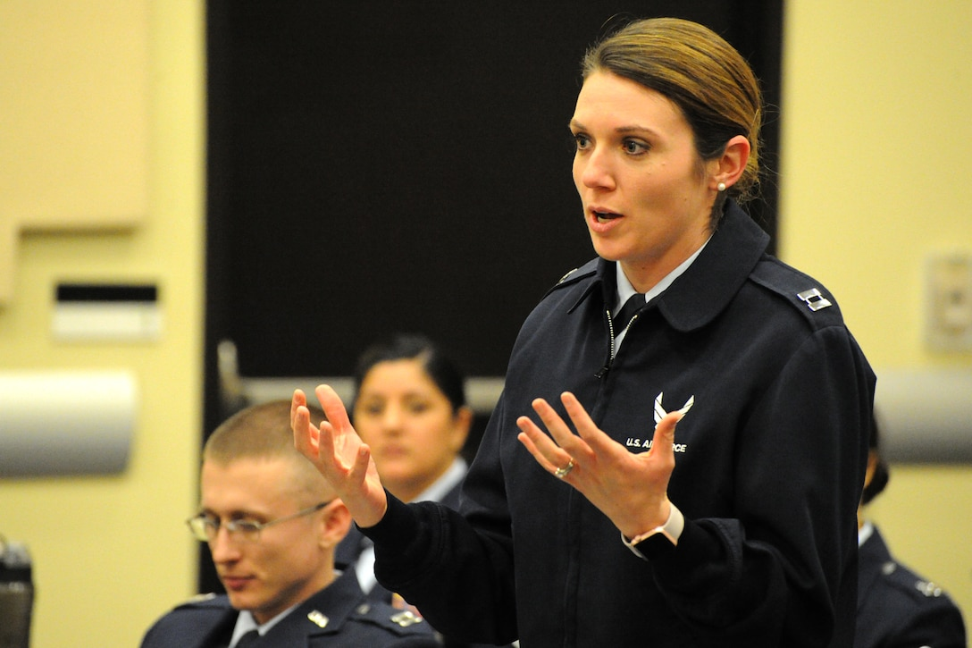 Capt. Kristina Sawtelle, 11th Logistics Readiness Squadron operations officer, asks a question to Air Force Deputy Chief of Staff for Manpower, Personnel and Services, Lt. Gen. Gina Grosso during Air Force District of Washington's sixth annual Capital Airmen Development Seminar on Joint Base Andrews, Md., Feb. 10, 2015. The professional development opportunity, which included briefings by senior Air Force leaders, candid discussions, and a tour of the U.S. Capitol building, was designed to increase participants' understanding of current Air Force issues and programs. (U.S. Air Force photo/Tech. Sgt. Matt Davis)